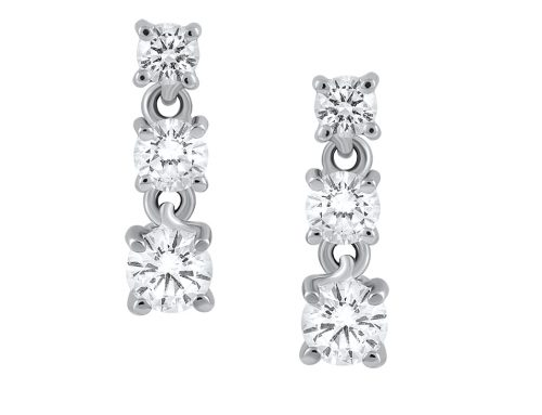 Three diamond drop earrings