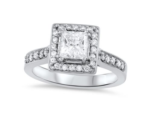 Princess-cut diamond halo ring