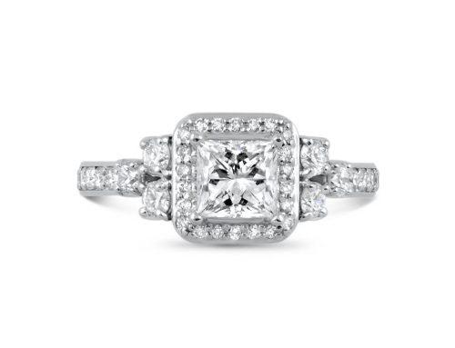 Princess-cut diamond halo ring